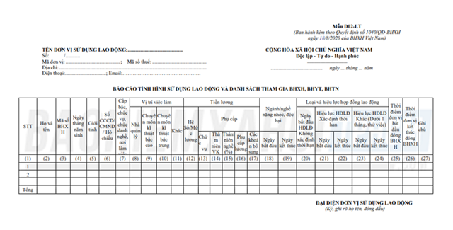 Mẫu báo cáo tình hình sử dụng lao động và danh sách tham gia BHXH.